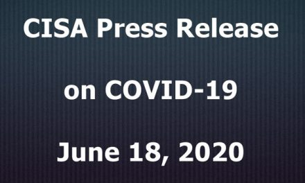 CISA Press Release on COVID-19; June 18, 2020
